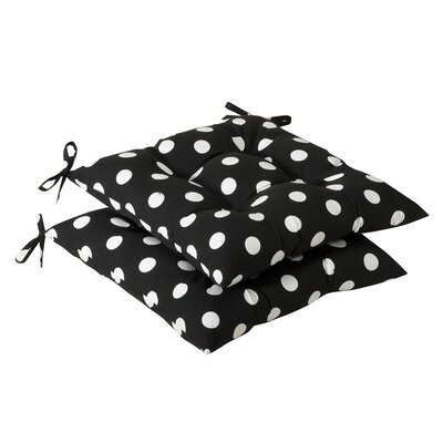 Tufted Outdoor Dining Chair Cushion Fabric: Black/White Polka Dot