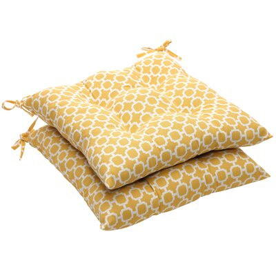Outdoor Dining Chair Cushion Fabric: Yellow/White Geometric