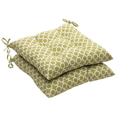 Outdoor Dining Chair Cushion Fabric: Green/White Geometric