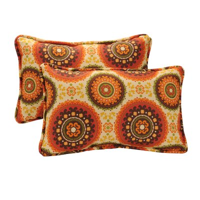 "Pillow Perfect Decorative Rectangle Toss Pillow (Set of 2) - Size: 16.5"" W x 24.5"" D, Color: Brown/Orange Circles at Sears.com"