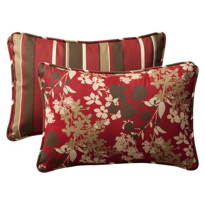 Reversible Outdoor Lumbar Pillow Size: 16.5 W x 24.5 D, Color: Red/Brown Floral/Striped