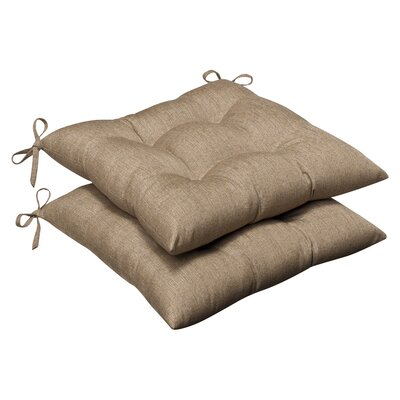 Outdoor Dining Chair Cushion Fabric: Tan Textured Solid