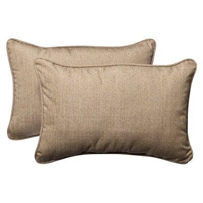 Outdoor Sunbrella Lumbar Pillow Color: Tan Textured Solid, Size: 16.5 W
