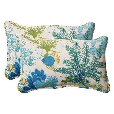 Splish Splash Corded Indoor/Outdoor Lumbar Pillow Color: Cream / Green / Blue / Turquoise, Size: 5 H x 11.5 W x 18.5 D
