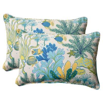 Splish Splash Corded Indoor/Outdoor Lumbar Pillow Size: 5 H x 16.5 W x 24.5 D, Color: Cream / Green / Blue / Turquoise