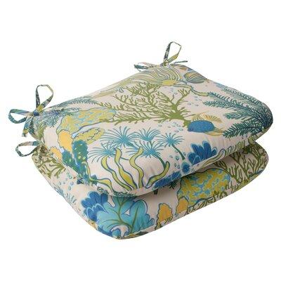 Splish Splash Outdoor Seat Cushion Color: Cream / Green / Blue / Turquoise
