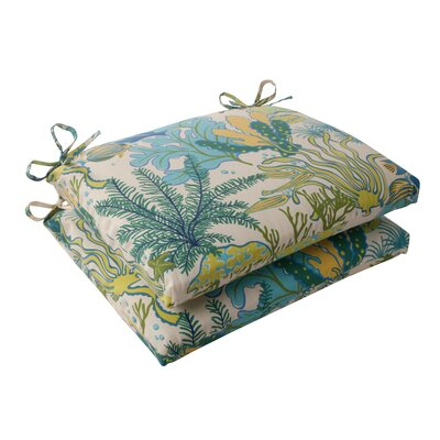 Splish Splash Outdoor Seat Cushion Color: Cream / Green / Blue / Turquoise
