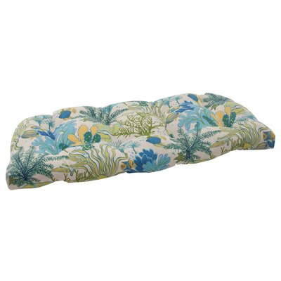 Splish Splash Outdoor Loveseat Cushion Color: Cream / Green / Blue / Turquoise