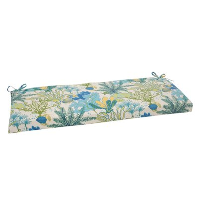 Splish Splash Outdoor Bench Cushion Color: Cream / Green / Blue / Turquoise
