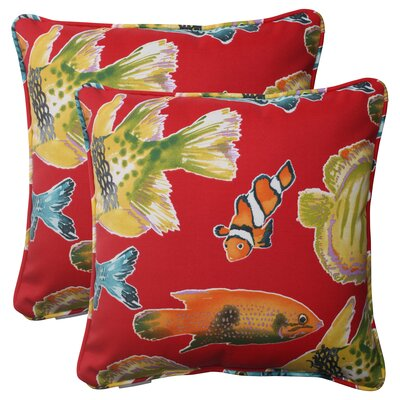 Kiley Corded Throw Pillow (Set of 2) Color: Multi / Red
