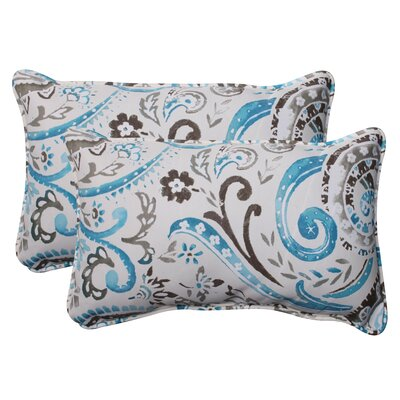 Paisley Corded Indoor/Outdoor Lumbar Pillow Color: Gray / Turquoise, Size: 5 H x 11.5 W x 18.5 D