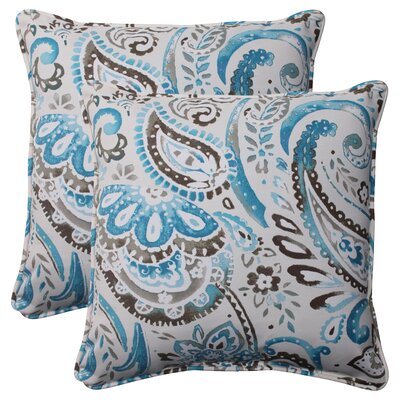 Paisley Corded Indoor/Outdoor Throw Pillow Color: Gray / Turquoise