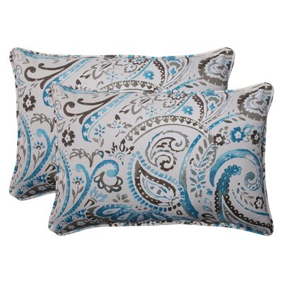 Paisley Corded Indoor/Outdoor Lumbar Pillow Size: 5 H x 16.5 W x 24.5 D, Color: Gray / Turquoise