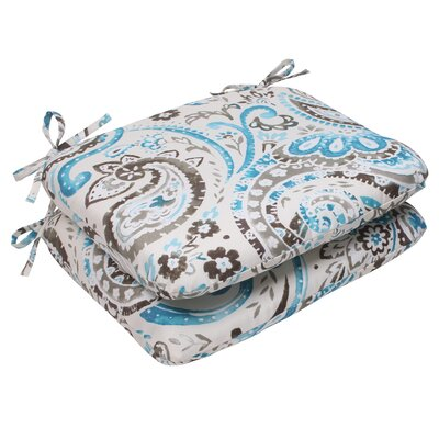 Paisley Outdoor Seat Cushion Color: Gray / Turquoise
