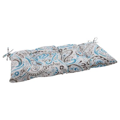 Paisley Outdoor Loveseat Cushion Color: Gray / Turquoise