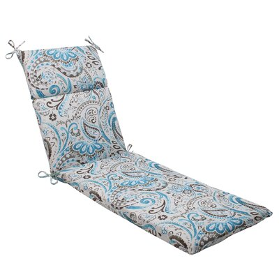 Paisley Outdoor Chaise Lounge Cushion Color: Gray / Turquoise