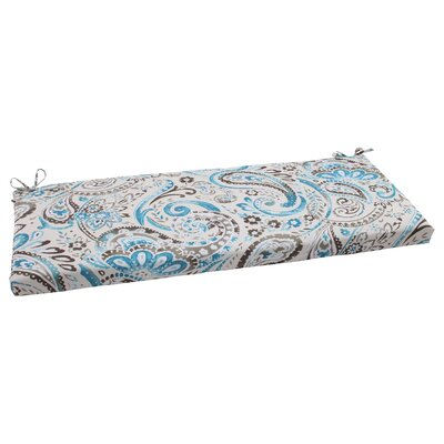 Paisley Outdoor Bench Cushion Color: Gray / Turquoise