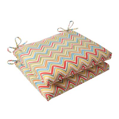 Pillow Perfect Cosmo Chevron Seat Cushion (Set of 2) - Color: Red / Green / Off-White / Orange / Yellow at Sears.com