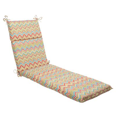 Pillow Perfect Cosmo Chevron Chaise Lounge Cushion - Color: Red / Green / Off-White / Orange / Yellow at Sears.com