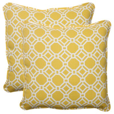 Rossmere Corded Indoor/Outdoor Throw Pillow Color: Yellow / White