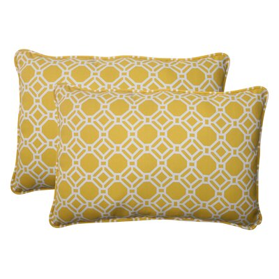 Rossmere Corded Indoor/Outdoor Lumbar Pillow Size: 5 H x 16.5 W x 24.5 D, Color: Yellow / White