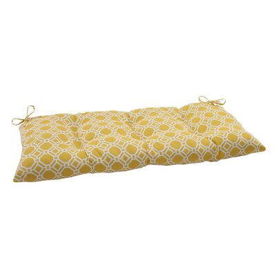 Rossmere Outdoor Loveseat Cushion Color: Yellow / White