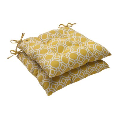 Rossmere Outdoor Seat Cushion Color: Yellow / White