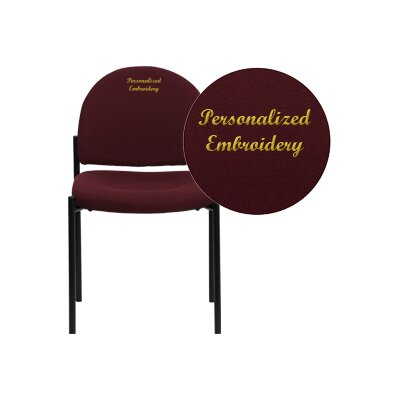 Personalized Comfortable Stackable Steel Guest Chair Seat Color: Burgundy, Arms: Without Arms