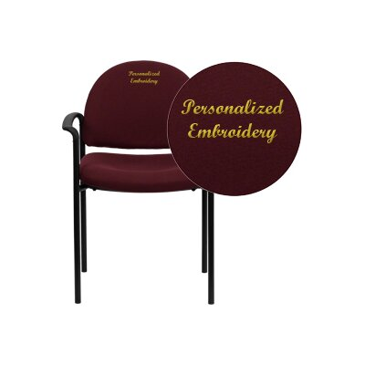 Personalized Comfortable Stackable Steel Guest Chair Seat Color: Burgundy, Arms: With Arms