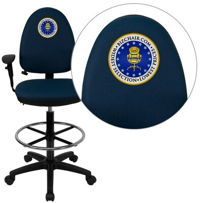 Personalized Mid-Back Multi-Functional Task Chair with Adjustable Lumbar Support Color: Navy, Arms: Product Picture 1292