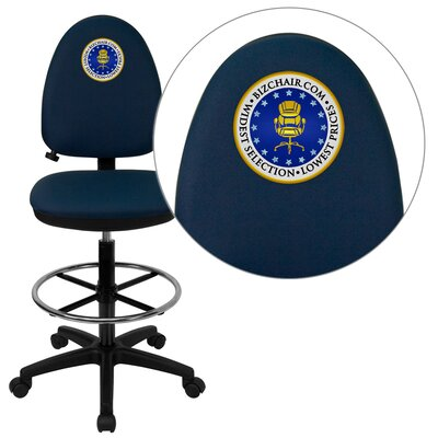 Personalized Mid-Back Multi-Functional Drafting Stool with Adjustable Lumbar Support Color: Navy, Ar Product Photo 7425