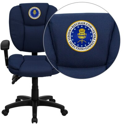 Personalized Mid-Back Black Multi-Functional Ergonomic Task Chair Color: Navy, Arms: With Arms Product Picture 1292