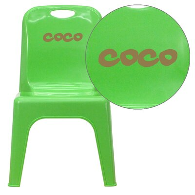 Stackable Personalized Kids Desk Chair YU-YCX-011+-GREEN-EMB-VYL-GG