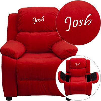 Personalized Kids Recliner Upholstery Type - Color: Microfiber - Red