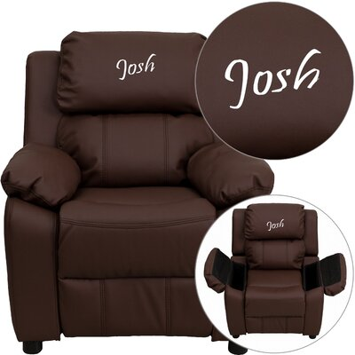Personalized Kids Recliner Upholstery Type - Color: Leather - Brown image