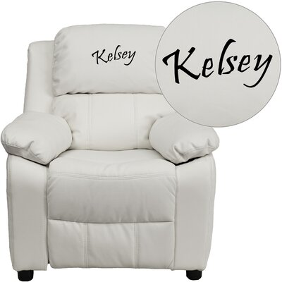 Personalized Kids Recliner Upholstery Type - Color: Vinyl - White image