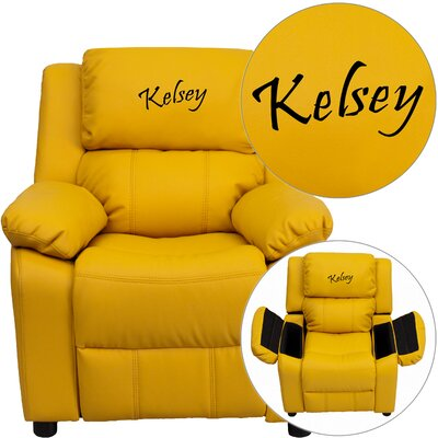 Personalized Kids Recliner Upholstery Type - Color: Vinyl - Yellow image