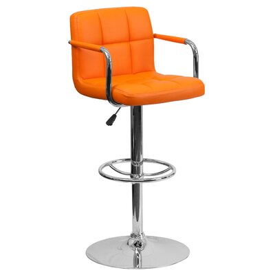 FlashFurniture Contemporary Quilted Vinyl Adjustable Height Bar Stool with Arms - Seat Color: Orange at Sears.com