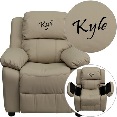 Personalized Kids Recliner Upholstery Type - Color: Vinyl - Beige image