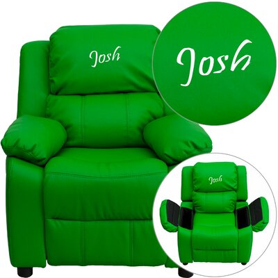 Personalized Kids Recliner Upholstery Type - Color: Microfiber - Green
