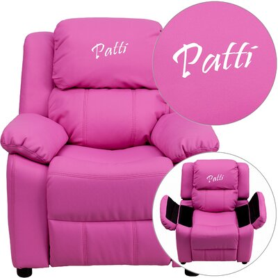 Deluxe Contemporary Personalized Kids Recliner with Storage Compartment Color: Hot Pink BT-7985-KID-+HOT-PINK-EMB-GG