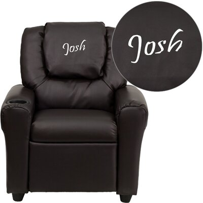 Deluxe Contemporary Personalized Kids Recliner with Cup Holder Color: Leather - Brown DG-ULT-KID+-BRN-EMB-GG