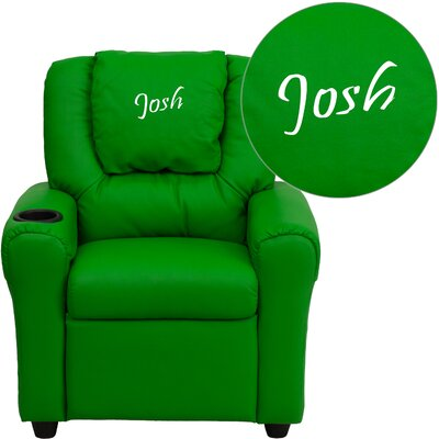 Personalized Kids Recliner Upholstery Type - Color: Vinyl - Green