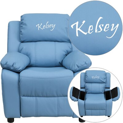 Deluxe Contemporary Personalized Kids Recliner with Storage Compartment Color: Light Blue BT-7985-KID-BGE-EMB-GG-1643Mini Salon+LTBLUE-EMB-GG