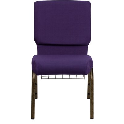 Hercules Series 18.5 Personalized Royal Fabric Church Chair with Communion Cup Book Rack
