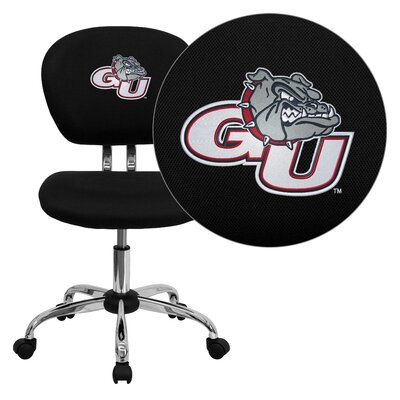 NCAA Embroidered Mid-Back Mesh Task Chair NCAA Team: Gonzaga Arms: Not Included