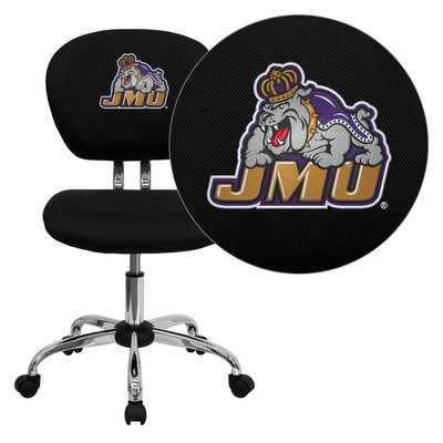 NCAA Embroidered Mid-Back Mesh Task Chair NCAA Team: James Madison Arms: Not Included image