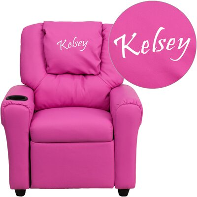 Personalized Kids Recliner Upholstery Type - Color: Vinyl - Hot Pink image