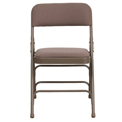 Hercules Series Personalized Upholstered Metal Folding Chair Color: Beige image