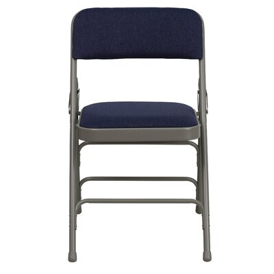 Hercules Series Personalized Upholstered Metal Folding Chair Color: Navy image